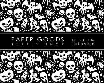 Halloween Digital Paper - Halloween Scrapbook Paper - Digital Paper - Skull Pattern Paper - Scrapbook Paper - Digital Paper Pack