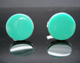 Green Onyx Cufflinks, Sterling Silver, Mexico 925 Cufflinks, Parra Sterling, Designer Cuff Links, 925 Cuff Links, Sterling Cuff Links