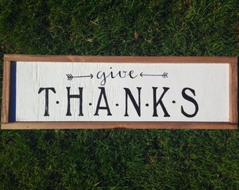 Give Thanks wall hanging  - Wall Decor - Handpainted Sign - holiday decor