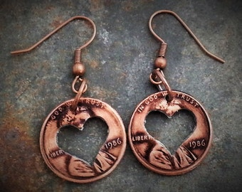 Valentine's Day Gift for her Penny Heart Earrings Valentine Birthday Gift for Women Customizable Years Coin Jewelery made from Pennies