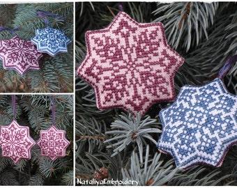 2 PDF primitive christmas cross stitch patterns: Christmas Tree Decorations Primitive Snowflakes Set of 2