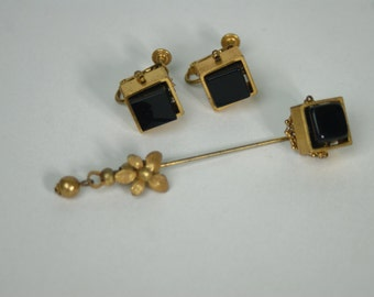 SALE! Miriam Haskell Black Glass Screwback Earrings and Stick Pin Set