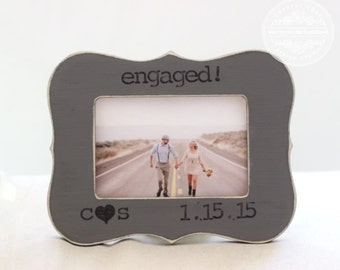 Personalized ENGAGEMENT Proposal GIFT Picture Frame 'Engaged' Distressed Rustic Shabby Beach Style