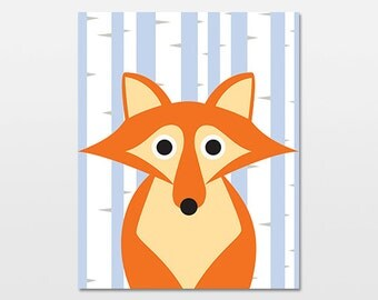 "Fox Woodland Art Print, Woodland Animal Nursery Decor Poster, Woodland Creature Artwork, 18x24"""