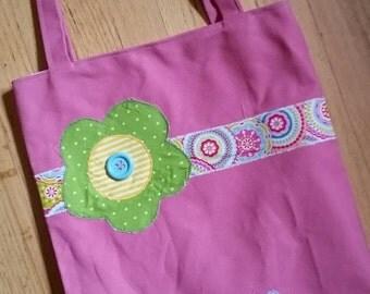 Large Personalized Kids Tote Bag, Girl Tote Bag, Flower Tote, Flower, Canvas Tote Bag, Reversible Bag, Tote Bag for Kids, Bookbag, Birthday