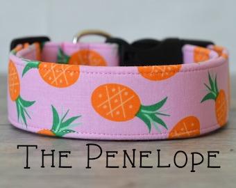 "Playful Girly Pink Pineapple Dog Collar ""The Penelope"""