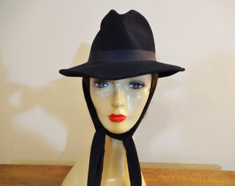 Vintage Women's Navy Fedora with Attached Scarf - 1960's/70's Wide Brimmed Hat - Bollman Hat Company - Winter Hat