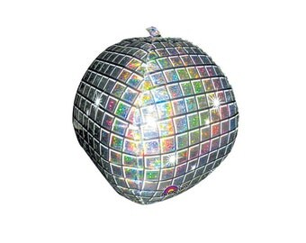 Disco Ball Holographic Foil (Mylar) Balloons - 15 Inch Air Fill Only - Hanging Decorations Party Supplies