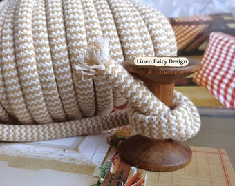 3 meters Cotton Rope 10 mm Beige and Raw Cotton Cord With Filling for Crafts Jewellery Decorations