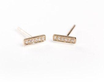 14k Gold Short Diamond Bar Earring/Staple Earring/Mini Bar Earrings