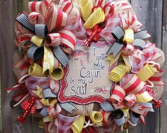 Cajun wreath Crawfish wreath Summer wreath Cajun crawfish wreath Everyday wreath Crawfish mesh wreath Cajun decor