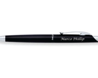 Personalized Silver & Black Enamel Ballpoint Pen Custom Engraved Free, Groomsmen, Father, Graduation Gift, Teacher Gift