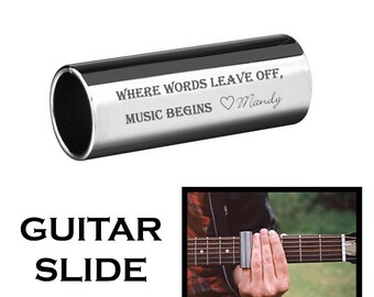Personalized Stainless Steel Guitar Slide Custom Engraved Free