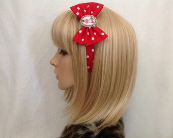 Minnie Mouse headband hair bow rockabilly psychobilly pin up Disney accessories mickey goofy Donald Duck Daisy red polka dot girls ladies