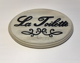 FREE SHIPPING (limited time) Bathroom sign La Toilette (cream) (5x7)
