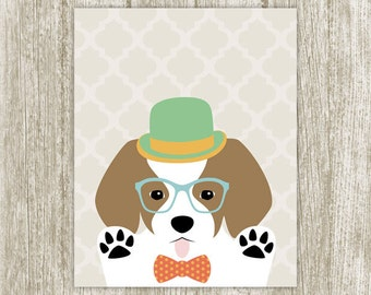 Hipster Puppy Printable, Dog Print Wall Art, Puppy Poster, Cute Puppy Print, Indie Nursery Kids Room, Puppy Wall Decor 8x10 Instant Download