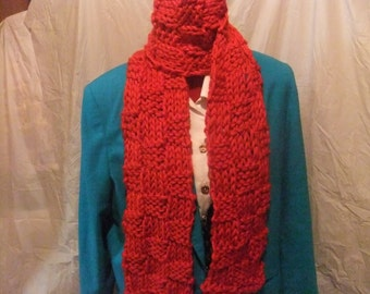 KNITTED WINTER SCARF/Handmade Scarf/Accessories/Winter Scarf/Soft Knit Scarf/Red Scarf/Ladies Scarf