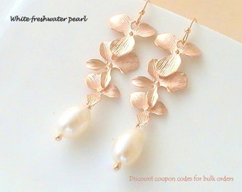 Freshwater Pearl Earrings, Bridesmaid Gift for Bridesmaids Earrings, Rose Gold Earrings, Dangle Earrings, Wedding Earrings, Bridal Jewelry