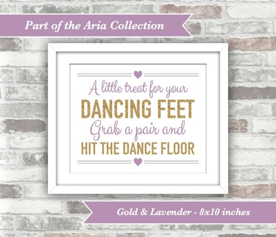 INSTANT DOWNLOAD - Aria Collection - Printable Wedding Flip Flops Sign - A Little Treat for your Dancing Feet - 8x10 Digital Files - Gold