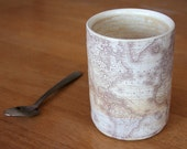 Antique World Map Tumbler: Thrown on a pottery wheel with iron decals
