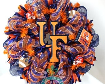 Florida Gators Fan Deco Mesh Orange Navy Blue Door Wreath