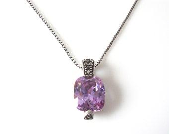 "Vintage Faux Amethyst Sterling Silver Marcasite Pendant Necklace 20"" chain"