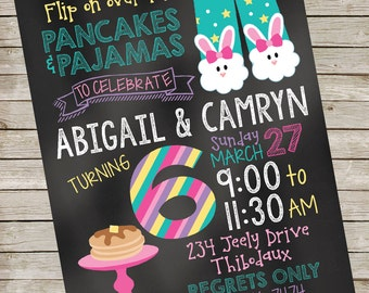 Pancakes and Pajamas Invitation PIY file ~ Pancakes & PJs Birthday Party Printable ~ Pancake Birthday Digital File