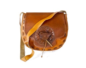 Hippie Saddlebag Purse, Acorn Brown Leather Shoulder Bag