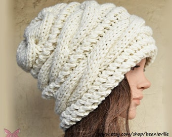 Slouchy cable style beanie hat - CREAM - Paypal  FREE SHIPPING - womens chunky - accessories - baggy slouch - thick & extra warm - gift