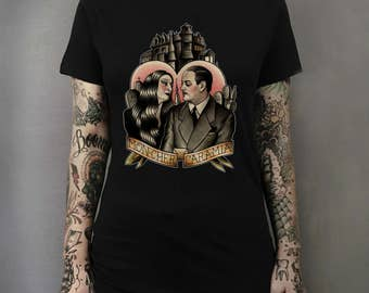 Morticia and Gomez The Adams Family Tattoo Art T-shirt