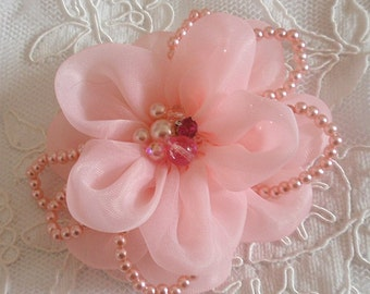 Lager Handmade Organza Flower  (3-1/2 inches) in Pink  MY-405-04  Ready To Ship