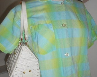 vintage  50s plaid checkered blouse button up great colors colored blocks meds large 21 inch across chest