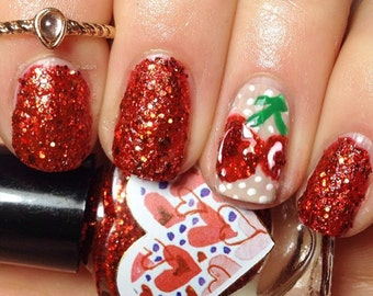 Pimpanel by Polish Me, Royalty! 5-toxin free, cruelty free, handmade red glitterbomb Nail Polish