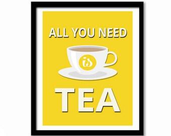 Tea Poster, Kitchen Print, Kitchen Decor, Tea Print, Kitchen Wall Art, Tea Quote, Tea Quote Print, Retro Poster, All You Need is Tea