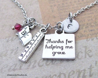 Thanks for helping me grow Book Ruler Personalized Hand Stamped Initial  Birthstone Antique Silver Teacher Appreciation Necklace