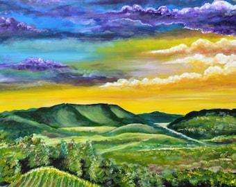 Italian vineyard painting, tuscany art,  Original art acrylic canvas 36 x 24 Tuscany purple sky hills mountains Italy harvest valley sun