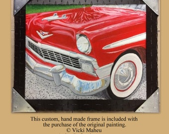 1956 Chevy, framed original,  handmade frame, red, gift for men,Car paintings, acrylic on canvas, classic cars, 56 chevy bel air, Item #CKO1