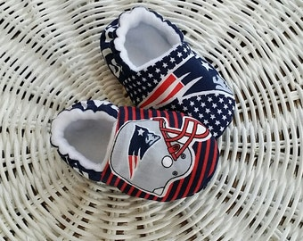 New England Patriots Slipper/Moccs, Crib Shoes, Toddler Moccs, Kid's Slippers, Soft Sole Women's Slippers, Baby Gift, Gift for Women