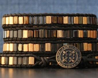 READY TO SHIP golden bronze tile wrap bracelet - bohemian jewelry - yoga jewelry - warm metallic tones - for men or women - boho