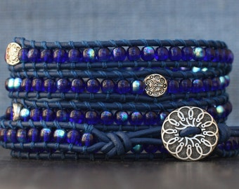 wrap bracelet- cobalt blue glass and silver filigree spacer beads on royal blue leather - sapphire - boho gypsy bohemian