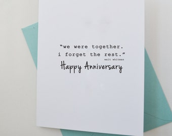Happy Anniversary Card for Spouse, Card for Spouse on Anniversary, Anniversary Quote Card, First Anniversary Card, Walt Whitman Quote