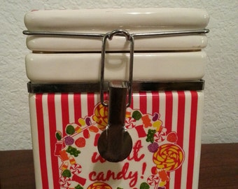 """Ceramic Candy Jar says """"Me Want Candy!"""""""