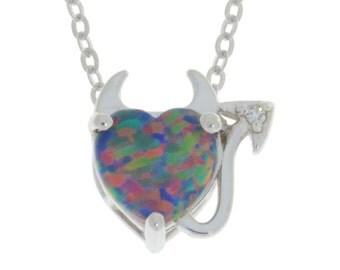 Black Opal & Diamond Devil Heart Pendant .925 Sterling Silver