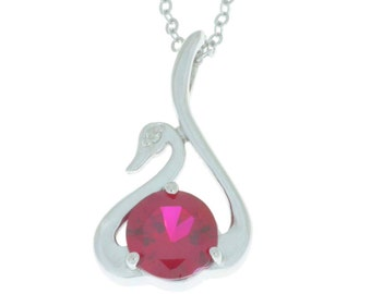 Ruby & Diamond Swan Pendant .925 Sterling Silver