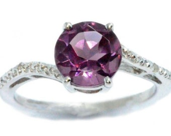 1.5 Ct Alexandrite & Diamond Round Ring .925 Sterling Silver Rhodium Finish White Gold Quality