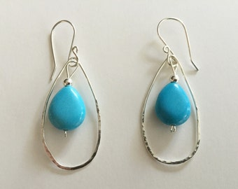 Sterling and turquoise magnesite earrings