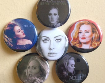 """Adele pin back buttons 1.25"""" set of 6"""