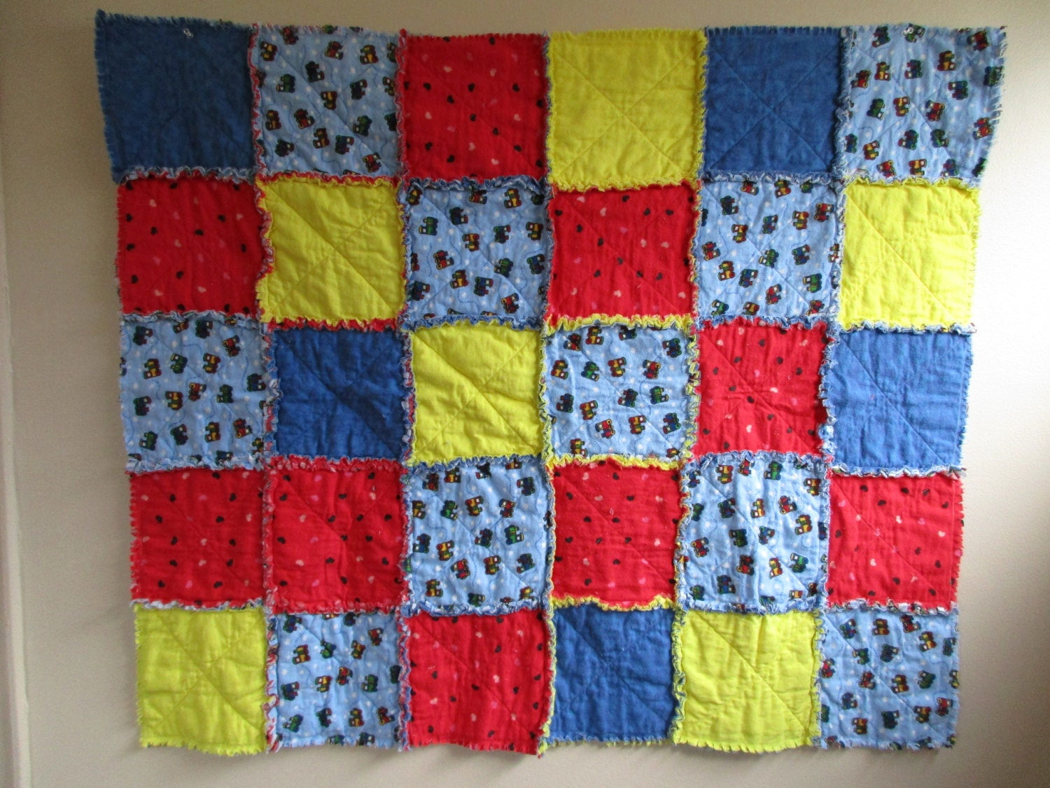 Primary Colors Train Rag Quilt Throw Quilt Blanket