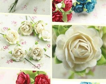 10 pcs of paper rose blossom bouquet 20mm flower diameter you can choose the color