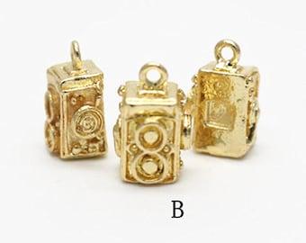 2 pcs metal camera charm-14x10x10mm-1265-18k gold-B